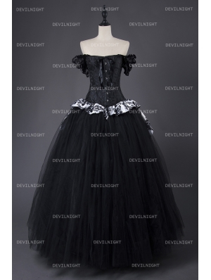 Romantic Gothic Corset Victorian Style Long Prom Gown