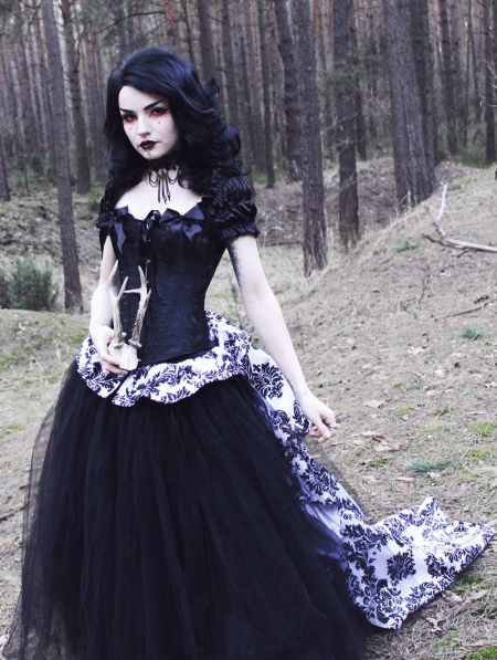 Romantic Gothic Corset Victorian Style Long Prom Gown - Devilnight.co.uk