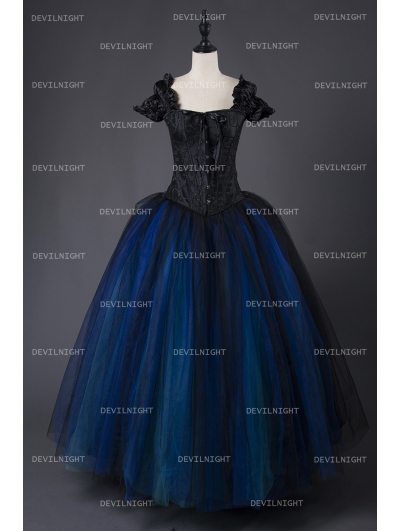Romantic Gothic Cap Sleeves Blue Corset Long Prom Party Dress