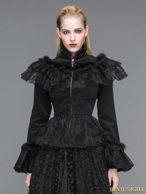 Elegant Black Gothic Lace and Fur Short Jacket For Women