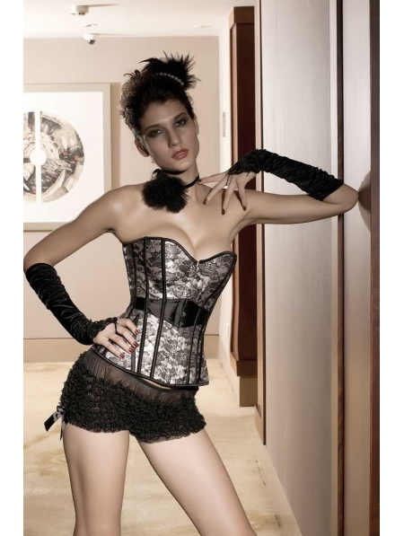 Black Pattern Gothic Victorian Overbust Corset