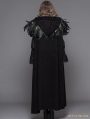 Black Gothic Removable Dark Green Feather Hooded Cape for Women