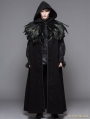 Black Gothic Removable Dark Green Feather Hooded Cape for Men