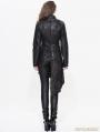 Black Gothic Punk Old Style Asymmetric Jacket For Women