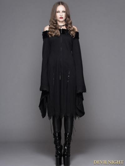Romantic Black Gothic Off-the-Shoulder Dress For Women