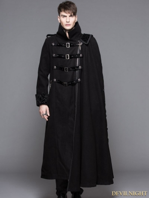 Black Gothic Punk Asymmetric Military Jacket For Men