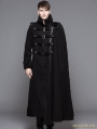 Black Gothic Punk Asymmetric Military Jacket For Men