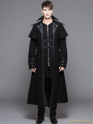 Black Vintage Gothic Long Cape Design Coat For Men