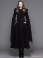 Black Gothic Long Hooded Cape Coat For Women