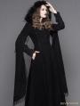 Black Gothic Long Hooded Cape Coat For Women