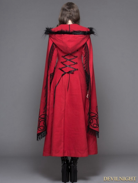 red gothic long hooded cape coat for women devilnightcouk