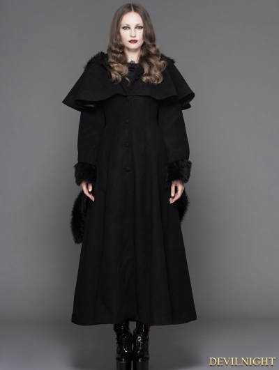 Black Gothic Dovetail Hooded Cape Long Coat For Women