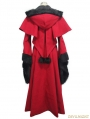 Red Gothic Dovetail Hooded Cape Long Coat For Women
