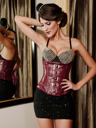 Red Gothic Leather Waist Training Underbust Corset