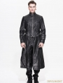 Black and Sliver Gothic Punk Long to Short Metal PU Coat for Men