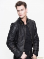 Black and Bronze Gothic Punk Long to Short Metal PU Coat for Men