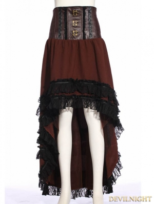 Browm Steampunk Asymmetric High Waist Skirt