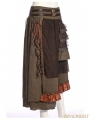 Brown Steampunk Splicing Long Skirt