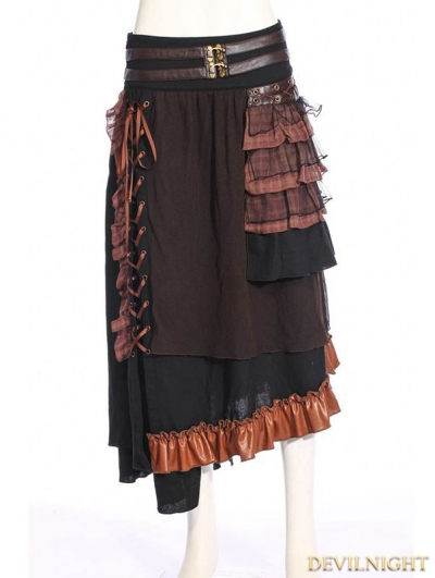 Black Steampunk Splicing Long Skirt