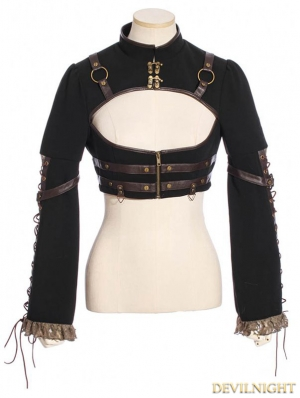 Black Steampunk Long Sleeves Short Jacket For Women