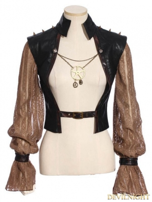Steampunk Splicing Sleeves Short Jacket For Women