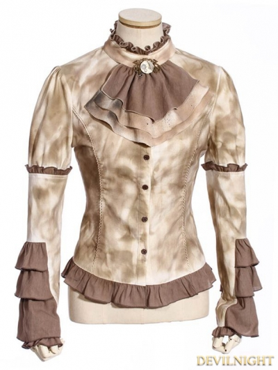 Vintage Coffee Steampunk Shirt with Removable Tie For Women