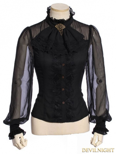 Black Steampunk Shirt with Removable Tie For Women