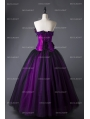 Romantic Purple and Black Feather and Flower Gothic Corset Long Prom Dress