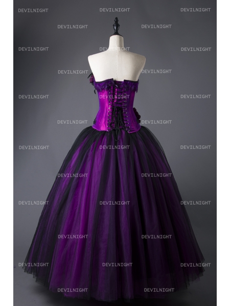 4be478d5a1a ... Romantic Purple and Black Feather and Flower Gothic Corset Long Prom  Dress