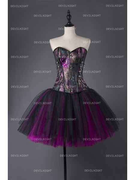 Steampunk Style Gothic Short Burlesque Corset Prom Party