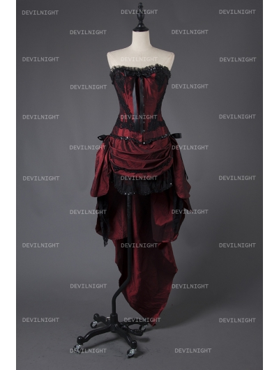 Wine Red Gothic Short Burlesque Corset Prom Party High-Low Dress