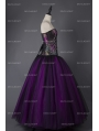 Purple and Black Steampunk Style Gothic Corset Long Prom Dress