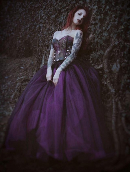purple and black steampunk style gothic corset long prom
