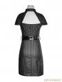 Black Gothic Military Striped PU Dress
