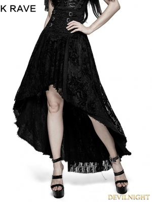 Black Gothic Positioning Flowers Decadent Half Skirt