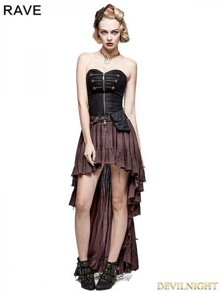 coffee steampunk high low corset dress. Black Bedroom Furniture Sets. Home Design Ideas