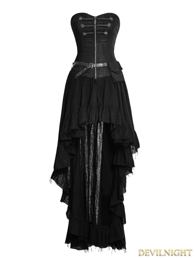 Black Steampunk High-Low Corset Dress