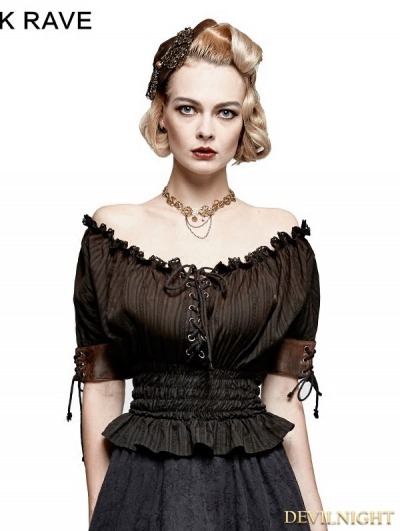 Black Steampunk Slash Neck T-shirt for Women