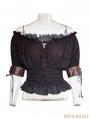 Ivory Steampunk Slash Neck T-shirt for Women