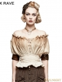 Ivory Steampunk Slash Neck T-shirt for Women