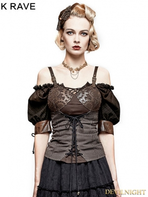 Coffee Steampunk Gear Burnt Out Vest for Women