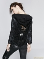Black Gothic Printing Back Hollow Hoodie Coat For Women