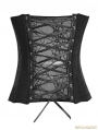 Gothic Jacquard PU Leather Button Corset