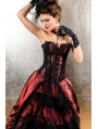 Red and Black Gothic Lace Overbust Corset