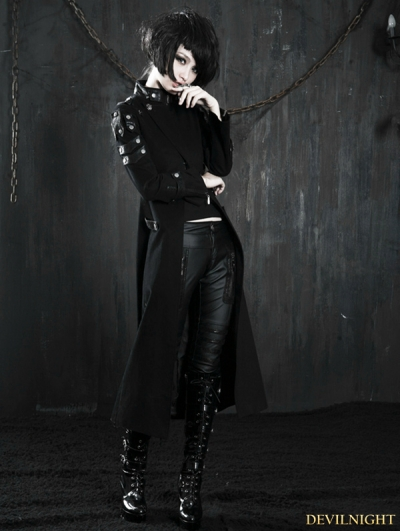 Black Gothic Millitary Style Overlength Jacket For Women