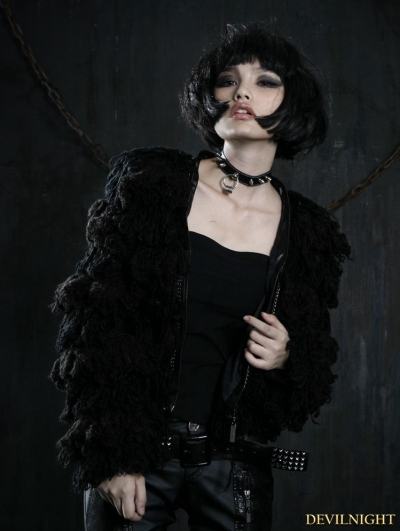 Black Gothic Wool Short Coat For Women