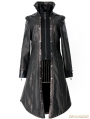 Black Bronze Gothic Punk Embroidery Leather Long Coat For Women