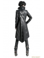 Black Silver Gothic Punk Embroidery Leather Long Coat For Women