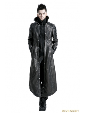 Black Silver Gothic Punk Embroidery Leather Long Coat For Men