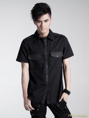 Black Gothic Men Punk Basic Short Sleeves Shirt